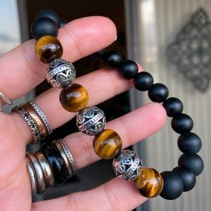 Big 10mm matte onyx tiger eye viking bead bracelet